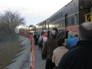 Photo of passengers boarding the Easter Flyer in February, 2014