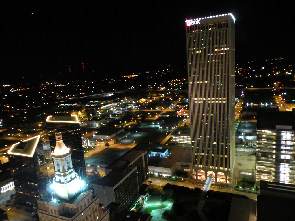 Downtown Tulsa night skyline. Photo by Daniel Jeffries.